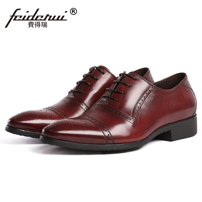 New Arrival Carved Brogue Man Cap Top Shoes Genuine Leather Male Bridal Oxfords Pointed Toe Men's Dress Flats For Wedding BH20 vintage leather mens shoes fashion brogue pointed toe carved oxfords shoes men casual dress shoes 2017 new arrival black grey