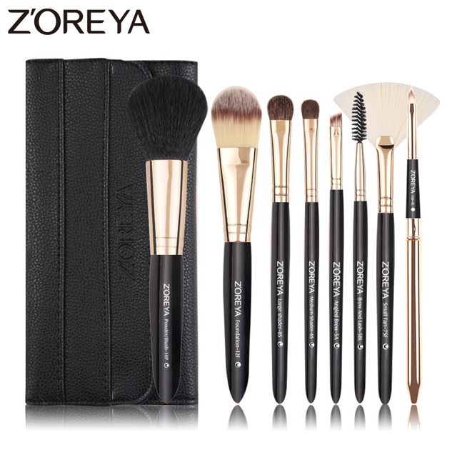 Zoreya Brand 8pcs High Quality Synthetic Fibers Makeup Brush Set Powder Foundation Large Eye Shadow Angled Brow Brushes 3 Colors