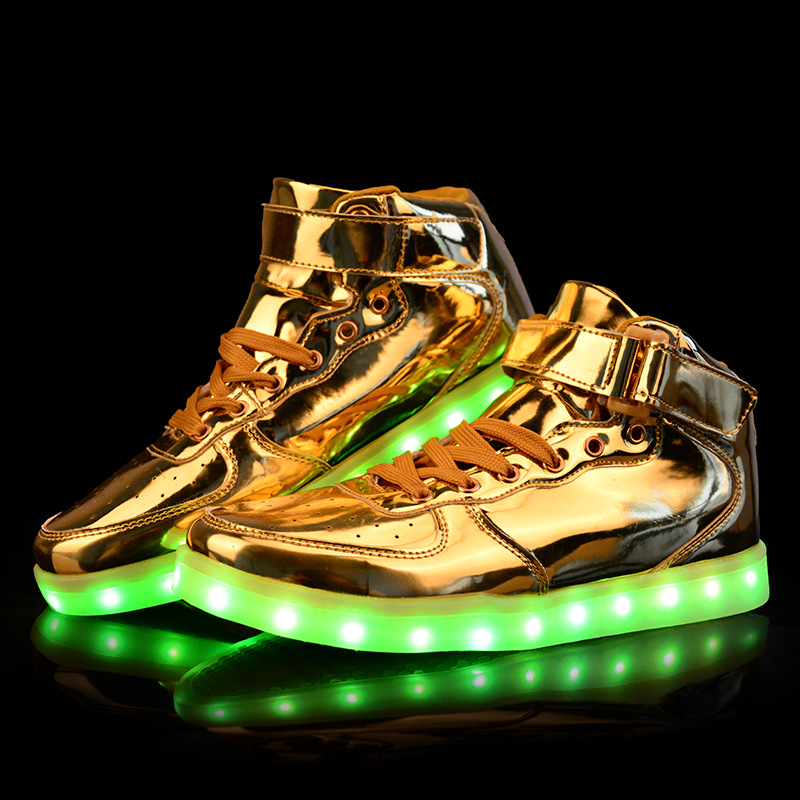 85cc89853dae Brand Light Up Shoes For Men And Women Adults Lovers Luminous High-heeled LED  Gold Silver Shoes USB Charge Footwear SS1605037