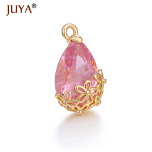 Luxury Flower Water drop Crystal Charms Hand made DIY Earrings Making Pendant Necklace Accessories Findings Earring 2pcs