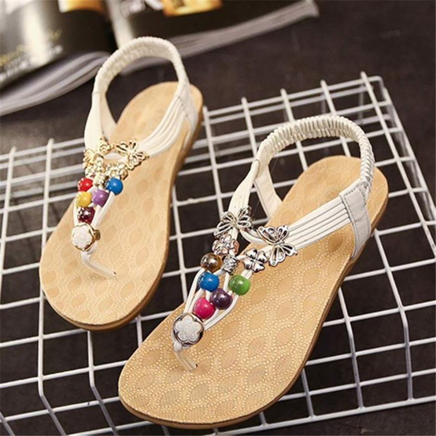 Women Summer Bohemia Sweet Beaded Sandals zapatos mujer Clip Toe Sandals Beach Shoes sandales femme 2018 nouveau d zapatos mujer black red summer sweet bowtie flat sandals slip toe beach sandals butterfly knot flat sandals shoes plus size 44