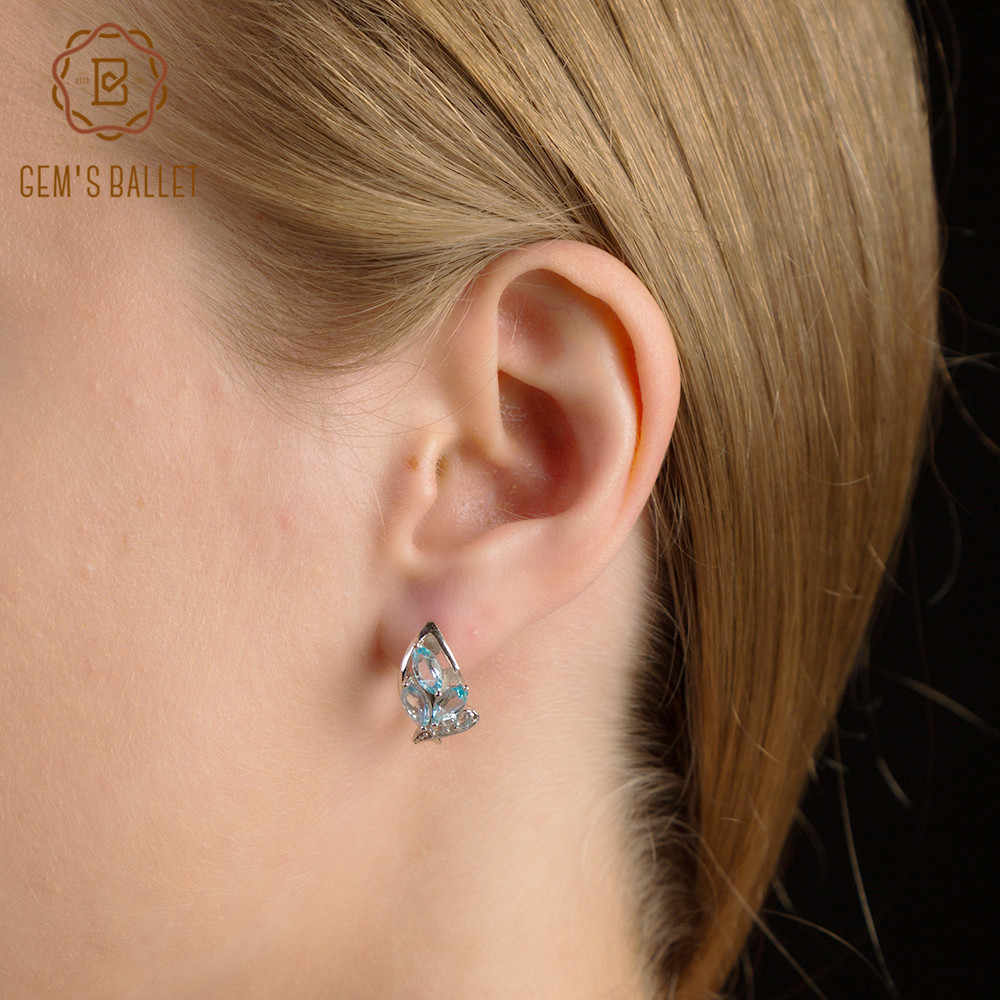 Gem's Ballet Sky Blue Topaz Flowers Clip Earrings Fashion Natural Fine Jewelry Soild 925 Sterling Silver Earrings For Women Gift