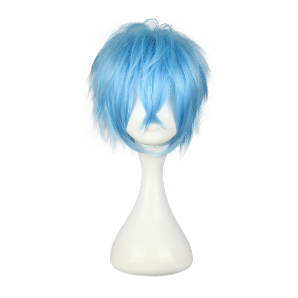 MCOSER Free Shipping 35cm Synthetic Short Light Blue Cosplay Wig 100 High Temperature Fiber Hair WIG