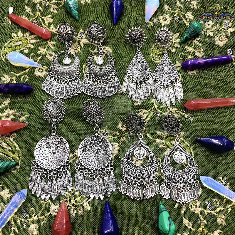 New Summer Original Design of Hand - Made Long Pendant Earrings India European Female Retro Tribal Earrings Hippie Jewellery