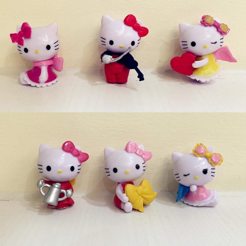 nuevo unidsset gatito lindo gato de dibujos animados anime figuras de accin juguetes muecas rosa decoracin de la torta de