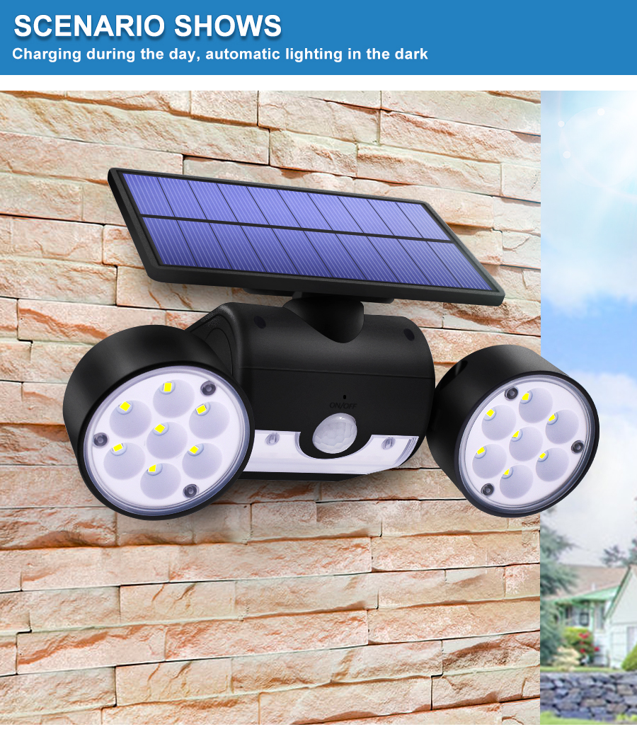 Dual Headed and Waterproof Solar Outdoor Light with 30 Adjustable Angled LED Lights for Garden and Street 12
