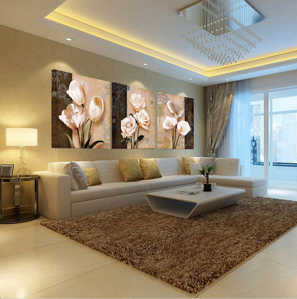 US $5.79 39% OFF|Top Selling 3 PC Canvas Wall Art Classic Flower Oil  Painting Large Living Room Kitchen Dinning Room Wall Picture Painting-in  Painting ...