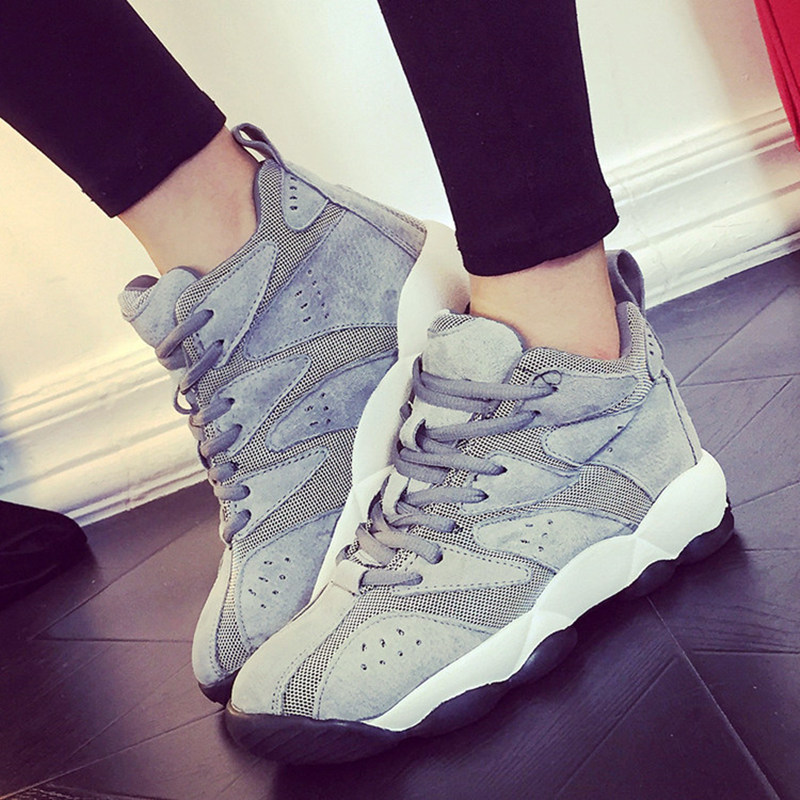 ФОТО Grey Fashion Womens Light Weight Breathable Mesh Casual Lace Up Round Toe Fashion Shoes