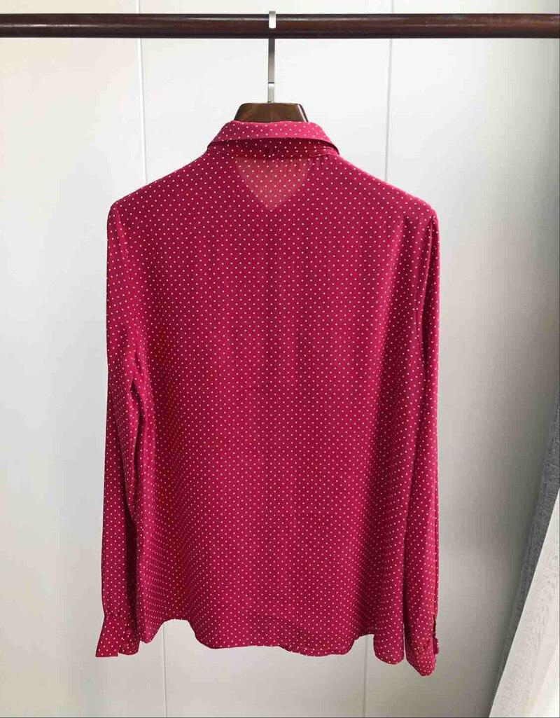100% الحرير النساء الأحمر الحلو قميص بلوزة التعادل القوس الرقبة طويلة الأكمام البولكا نقطة الفرنسية نمط قميص أعلى-في بلوزات وقمصان من ملابس نسائية على  مجموعة 3