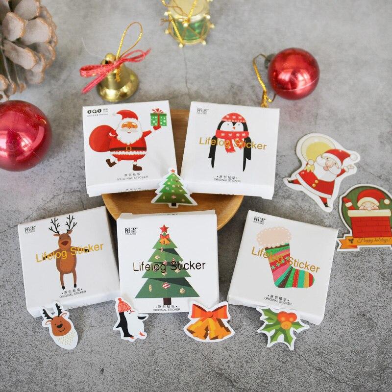 100Pcs paquete feliz Navidad Sello de la etiqueta engomada de la etiqueta de regalo de árbol de Navidad Sticke WY