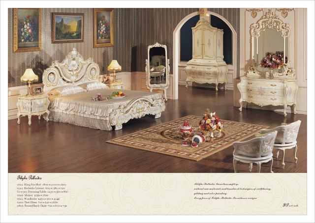 European Style Bedroom Furnitures Luxury Hand Carving Bed Free Shipping