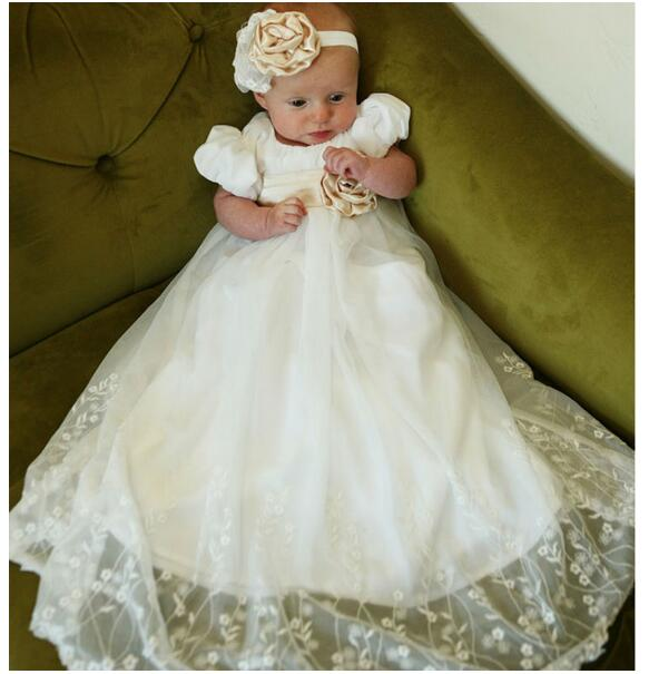 Baby Girls Christening Dress 2017 Euro Vintage Shortsleeve Long Formal Dress Lace Gauze White Newborn Birthday Baptism Dresses