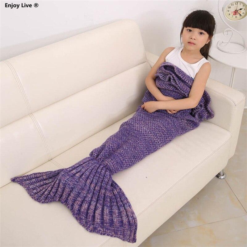 Buy yarn knitted mermaid tail blanket for Cobertor para sofa