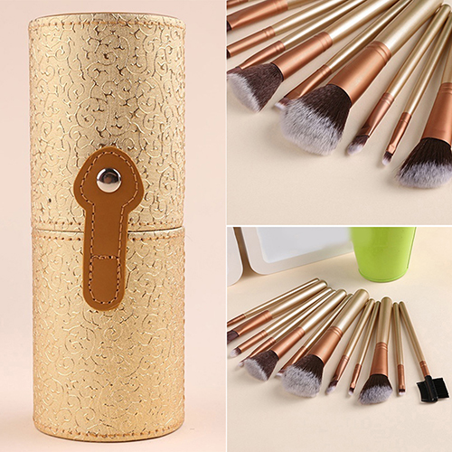 New 12Pcs Pro Makeup Brushes + Faux Leather Cup Holder Case Cosmetic Brush Set Kit hot pro makeup brushes kits flower leather cup holder comestic brushes empty case 4 color free shipping
