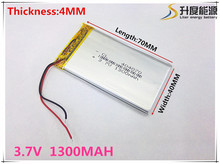 Free shipping Polymer battery 1300 mah 3.7V 404070 smart home MP3 speakers Li-ion battery for dvr,GPS,mp3,mp4,cell phone,speak