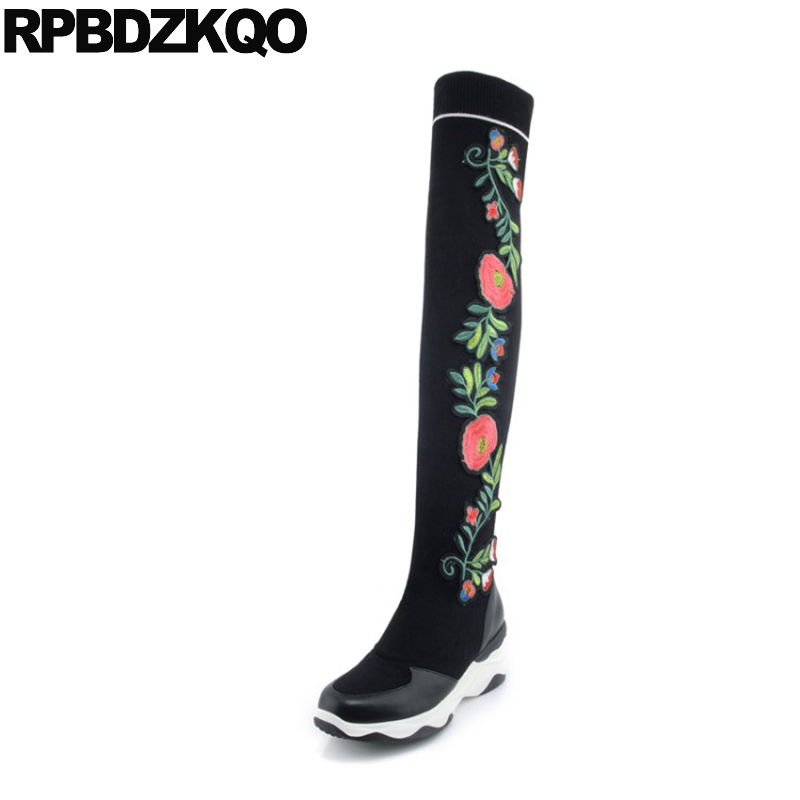 Platform Flower High Heel Embroidery Slim Slip On Thigh Embroidered Muffin Women Boots Winter 2017 Stretch Sock Over The Knee nayiduyun new thigh high shoes women wedge slip on over the knee boots high heel punk sneaker oxfords platform riding greepers