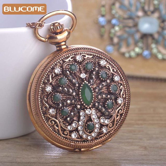 Vintage Mechanical Pocket Watch Necklace For Women Round Green Flower Resin Necklaces Crystal Turkish Quartz Watches Pendants