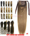 """16 """" 18 """" 20 """" 22 """" 24 """" 26 """" 28 """" 100% brasileiro Remy grampos de cabelo em / sobre extensões de cabelo humano rabo de cavalo rabo de cavalo # 6 80 g 100 g 120 g 140 g"""