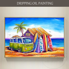 Excellent Artist Hand-painted Colorful Oil Painting Vacation Time Beach Landscape and Touring Car for Living Room