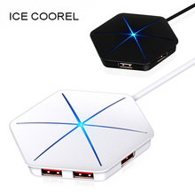 ICE COOREL USB 3.0 2.0 HUB High Speed External 6 Port Usb Splitter with Micro Usb Interface SD/TF Card Reader for PC Laptop цена
