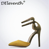 DEleventh Hot 2017 New Summer Women S Yellow Army Green Mixed Colors Ankle Strap Point Toe