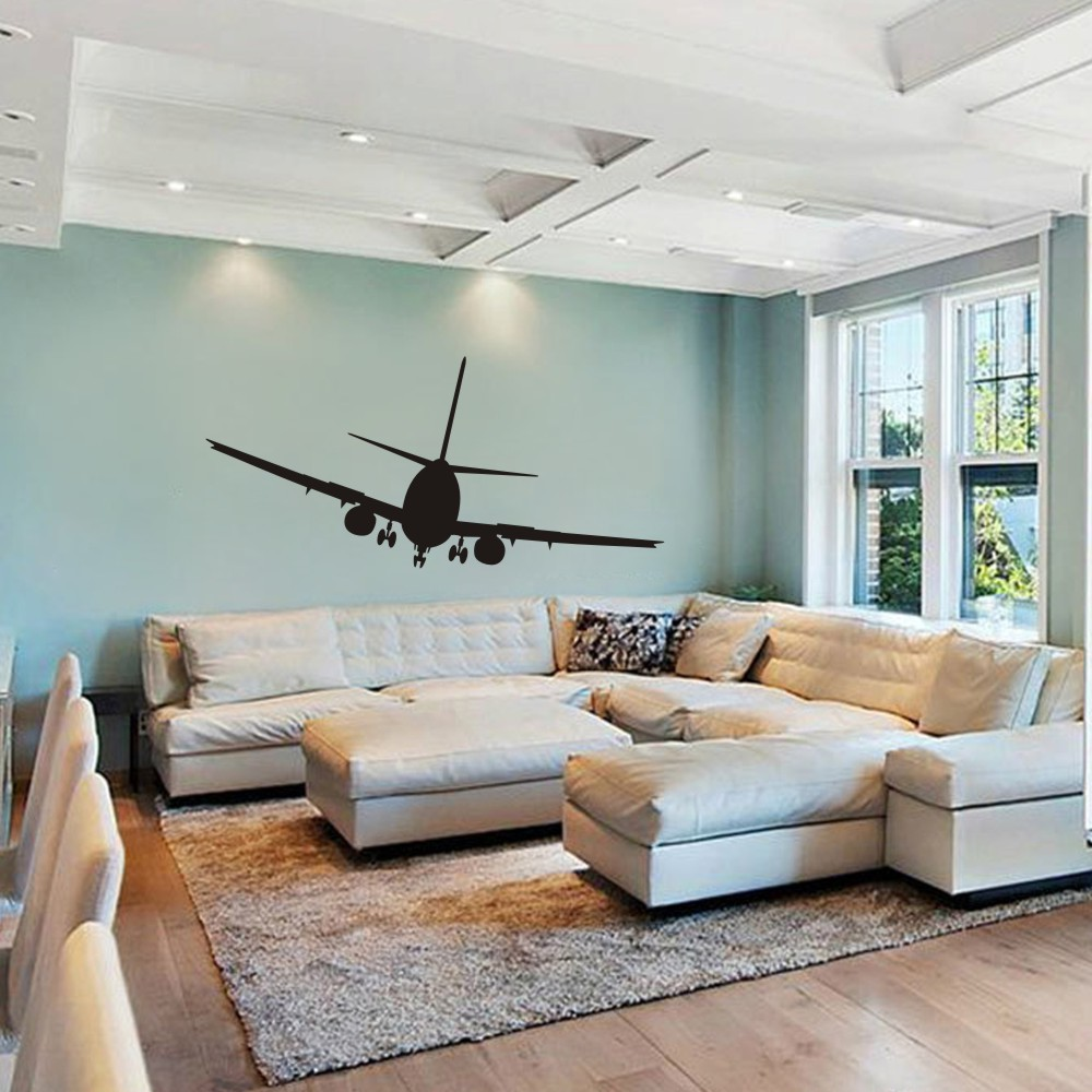 Wonderful Airplane Wall Decals Aviation Decor Jumbo Jetliner Vinyl Decal  Transportation Aircraft Dorm 32H X 70W In