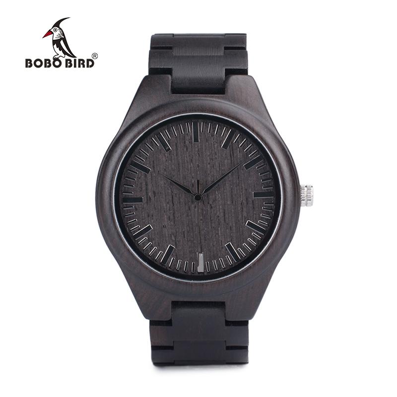BOBO BIRD Mens Black Ebony Wooden Watches Wood Links Causal Quartz Wrist Watch in Gift Box custom logo 3