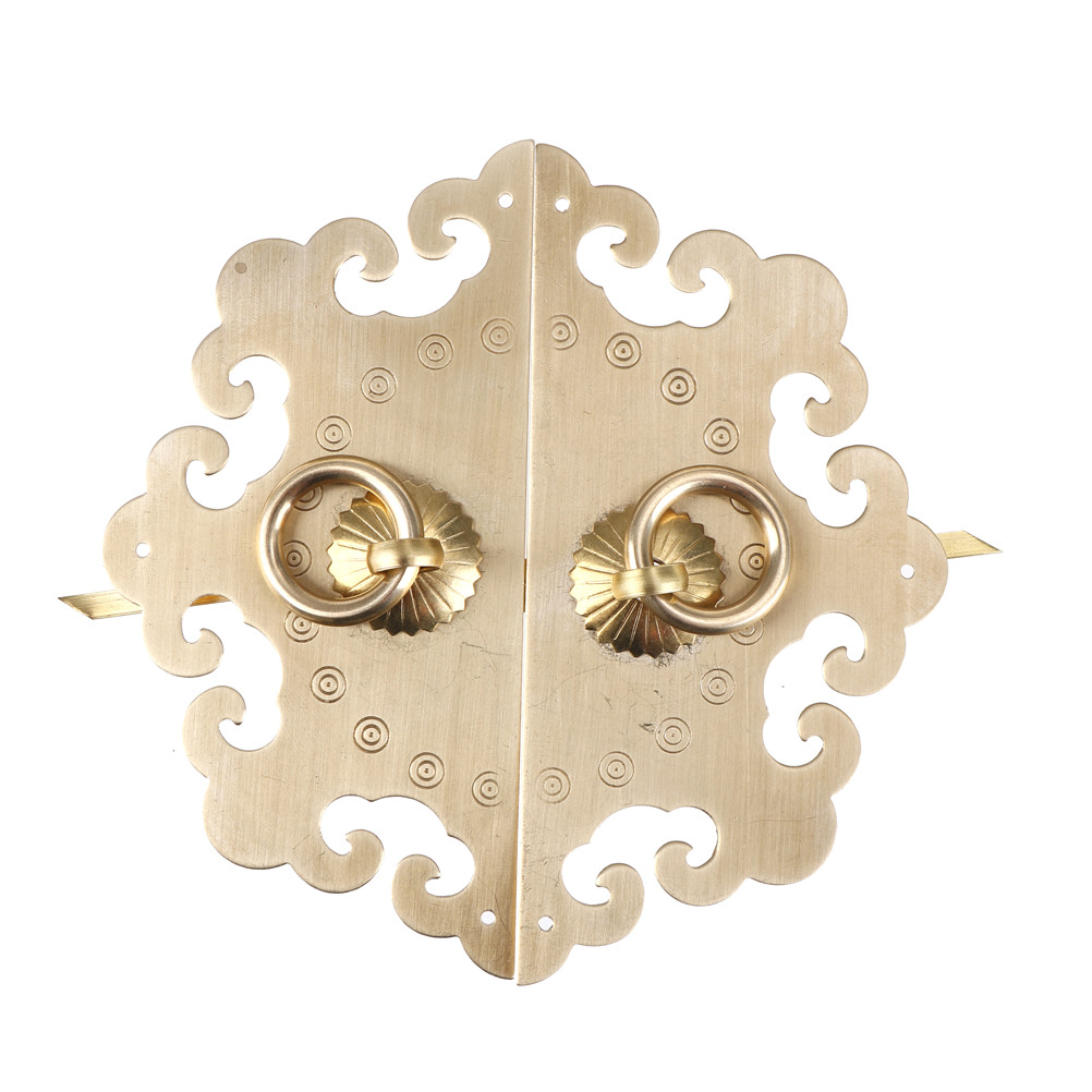 New Furniture Door Vintage Furniture Fittings Brass Hardware Door Cupboard Pull Handle Knobs Chinese Cabinet Face Plate Set 2pcs set stainless steel 90 degree self closing cabinet closet door hinges home roomfurniture hardware accessories supply