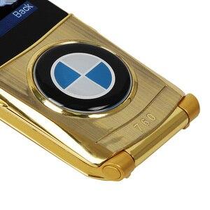"Image 2 - Mosthink W760 Flip Mobile Phone Dual SIM Cards 1.77"" Mini Metal Body Car style Camera Single Core Button Russian Keyboard Phone"