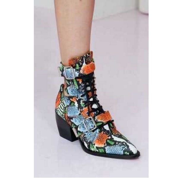 Cross-tied Buck Belt Square Toe Women Ankle Boots Genuine Leather Print Flower Chelsea Boots Hollow Out Runway Female Boots 2018 chic geometric print hollow out criss cross women s bikini set