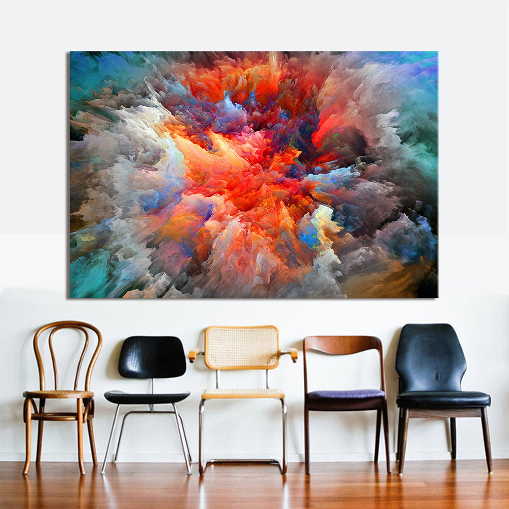 hdartisan moderne abstrakte leinwand malerei bunte wolken. Black Bedroom Furniture Sets. Home Design Ideas