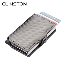 RFID Blocking 2018 Fashion Men ID Credit Card Holder Automatic Aluminum Metal Leather Cardholder Case Slim Wallet Man Mini Purse