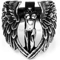 Vintage Style Stainless Steel Band Biker Men's Angel Wing Ring, Black Silver Big Size 7-14