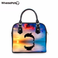 WHOSEPET Dolphin Handbags Women's Animals Printing Casual Portable Bags Designer Handbag High Quality Girls New Cross Body Purse