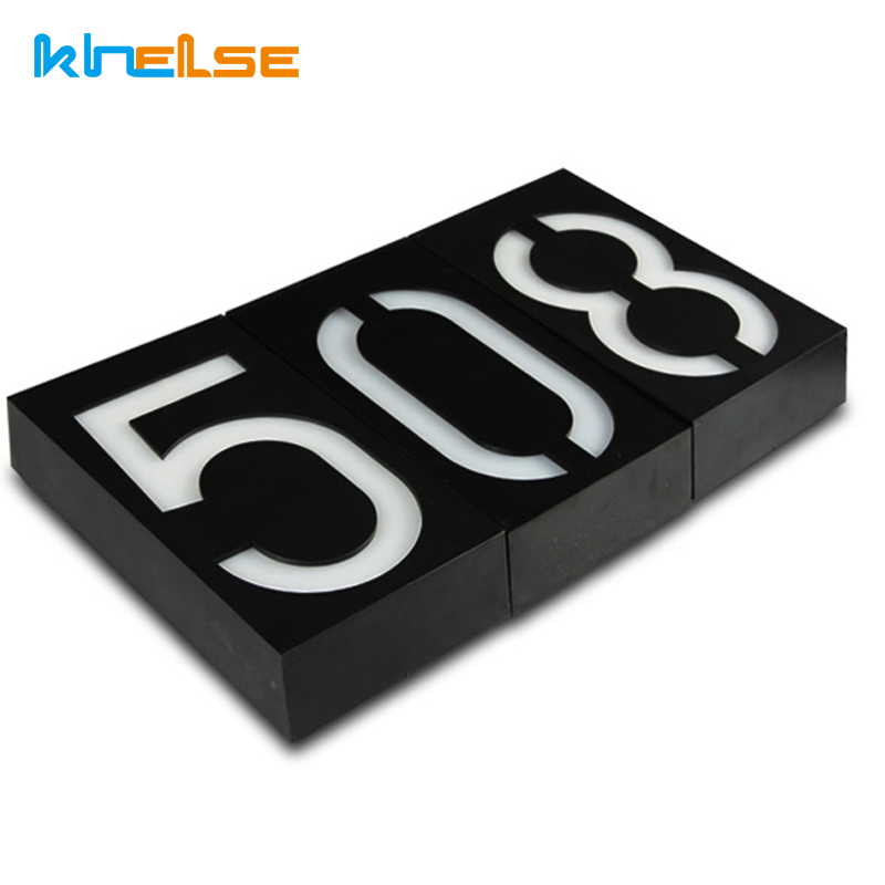 New Solar Power LED Light Sign House Number Digit Plate Hotel Door Address Plaque Mailbox Digit Plate placa Outdoor Lighting Bar