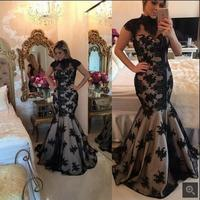 New Designer Mermaid Black Lace Applique Evening Dress hollow back sexy high neck beading sequins evening gowns Robe De Mariage
