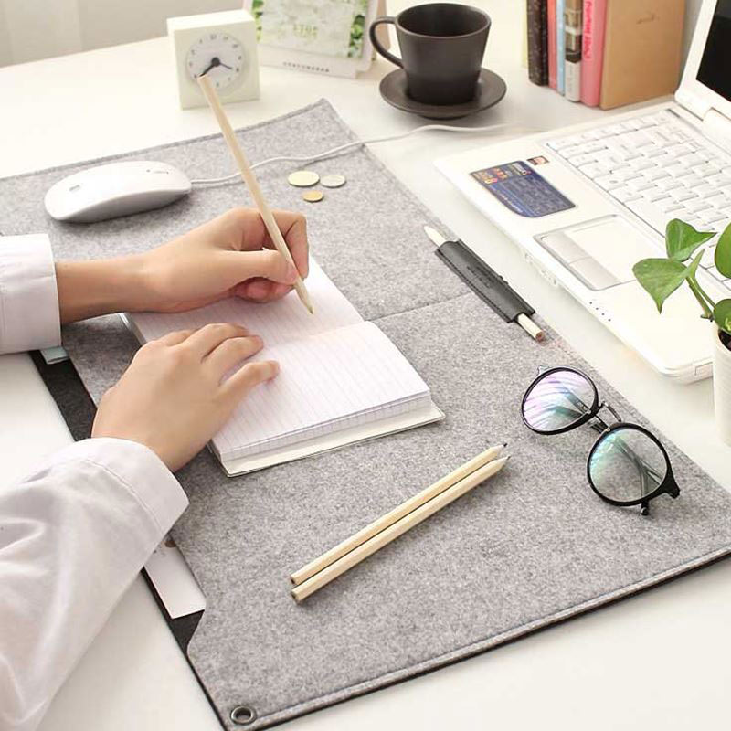 New Comfortable Computer Desk Table Felt Mat Office Desk Mouse Pad Holder Laptop Cases Cushion Mouse Pads QJY99
