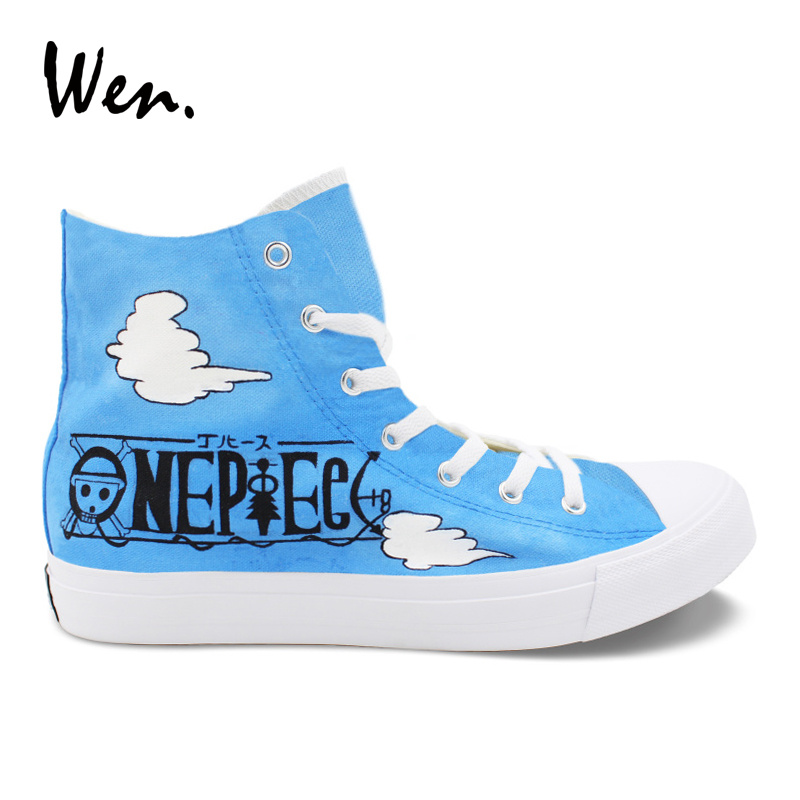 Wen Design Hand Painted Shoes One Piece Luffy Laughs High Top Anime Canvas Shoes for Boy Girl Skateboard Sneakers Unisex