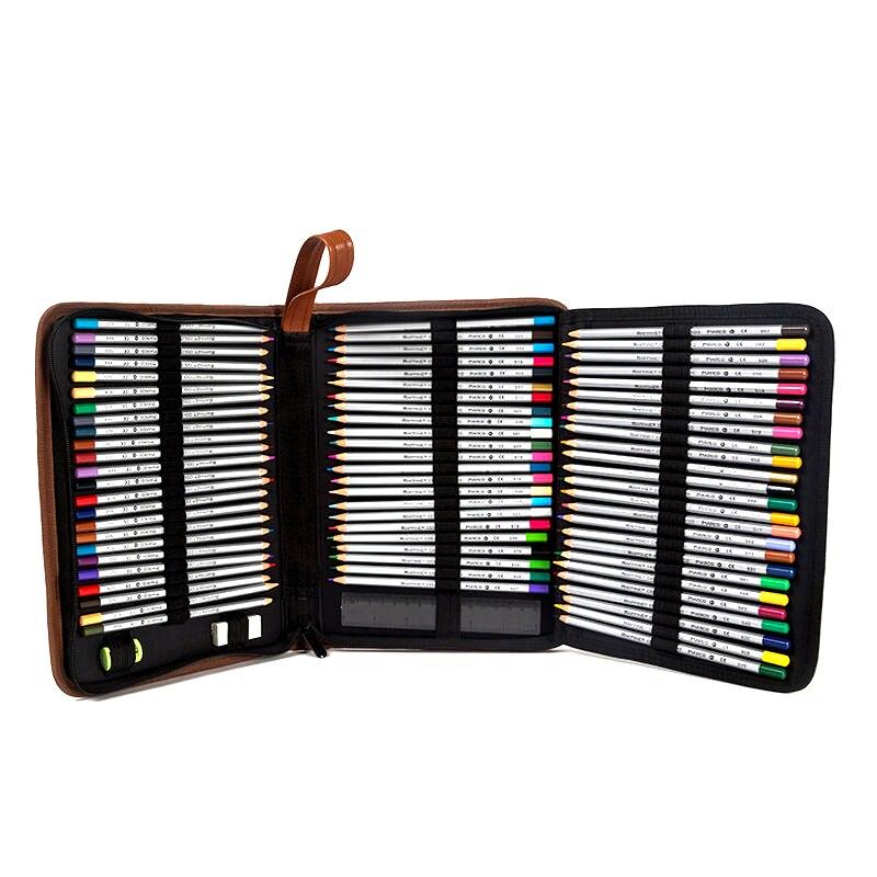 วาดภาพระดับมืออาชีพกรณีดินสอ160ผู้ถือแบบพกพาหนังPUความจุขนาดใหญ่ถุงสำหรับเก็บดินสอสีสีน้ำแปรง-ใน เคสดินสอ จาก อุปกรณ์ออฟฟิศและการเรียน บน   3