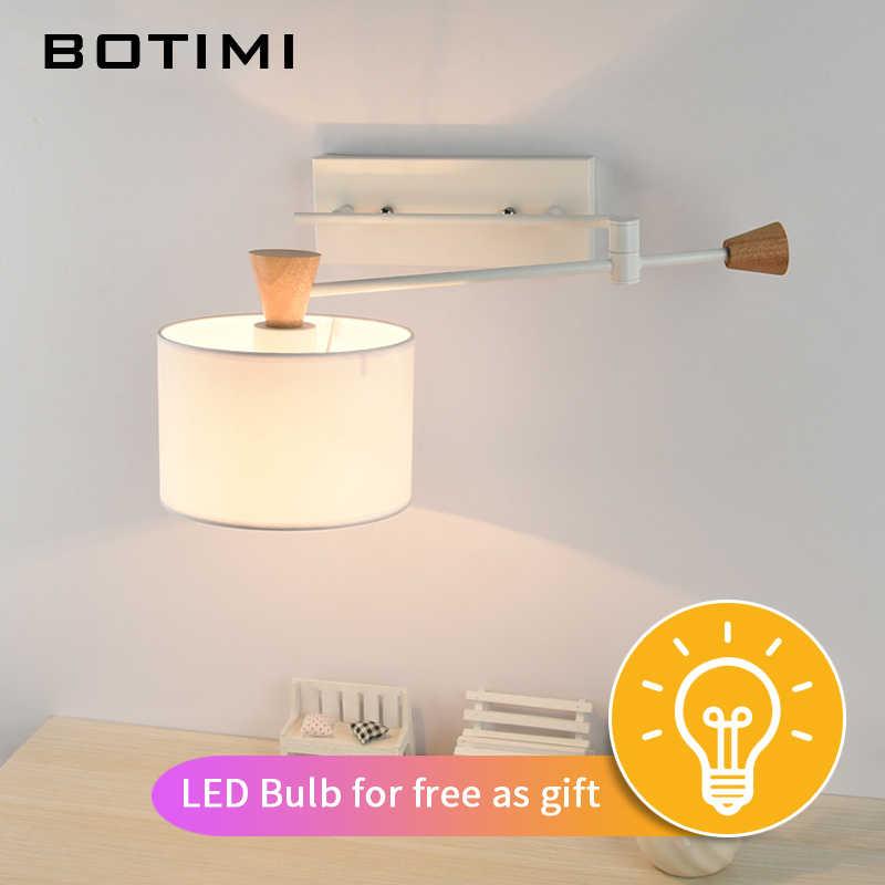 BOTIMI нордический настенный светильник с поворотным рычагом аппликация Мураль светильник деревянный настенный бра для спальни освещение для чтения светильники