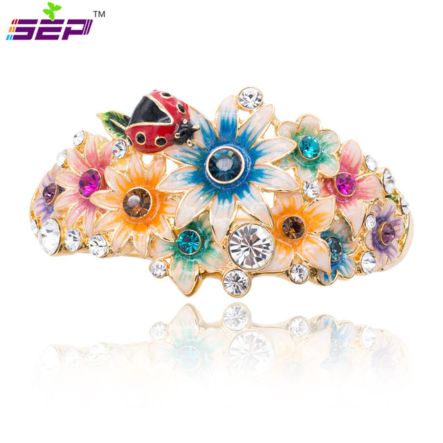 New 2015 Spring Enamel Sunflower Ladybug Bracelet Cuff Austrian Crystals Flower Bangle For Women Party Jewelry 4 Color SKCA1783M
