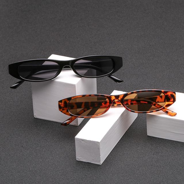 YOOSKE Vintage Rectangle Cat Eye Sunglasses Women Brand Designer Ladies Small Frame Black Sun Glasses Retro Eyewear