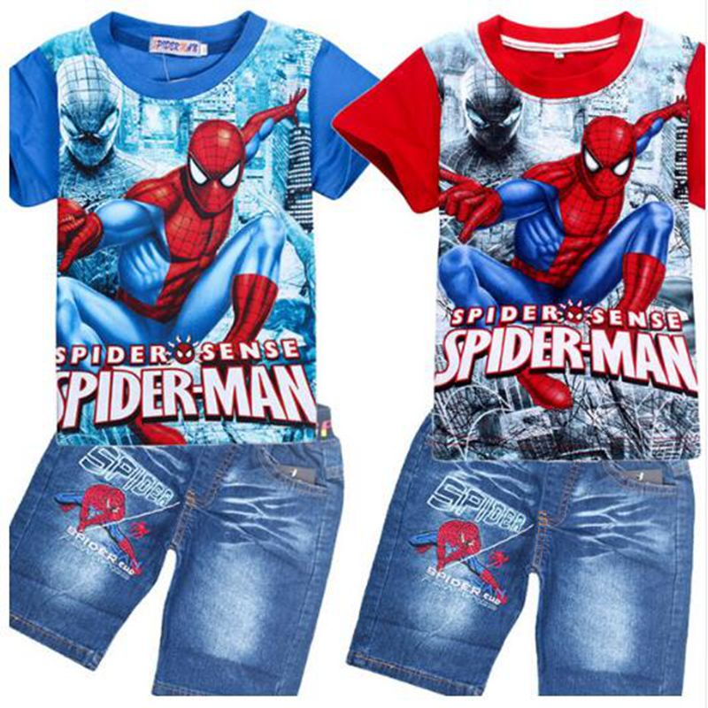 Baby Kids Spider Man Teens Suits Shirt Jeans Shorts Pants Cartoon
