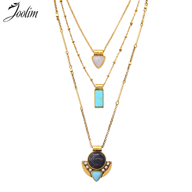 JOOLIM Jewelry Wholesale/ Three-Row Convertible Necklace 3 in 1 Removable Statement Layered Neclace Jewelry free shipping ...