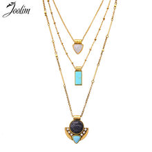 JOOLIM Jewelry Wholesale/ Three-Row Convertible Necklace 3 in 1 Removable Statement Layered Neclace Jewelry free shipping(China)