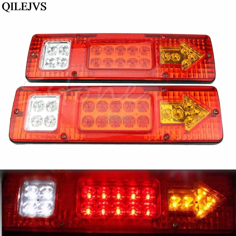 Car Styling 2pcs 19 LED Car Truck Trailer Rear Tail Stop Turn Light Indicator Lamp 12V Drop shipping vehemo 12v 40 led truck car trailer rear tail light stop indicator turn signal lamp