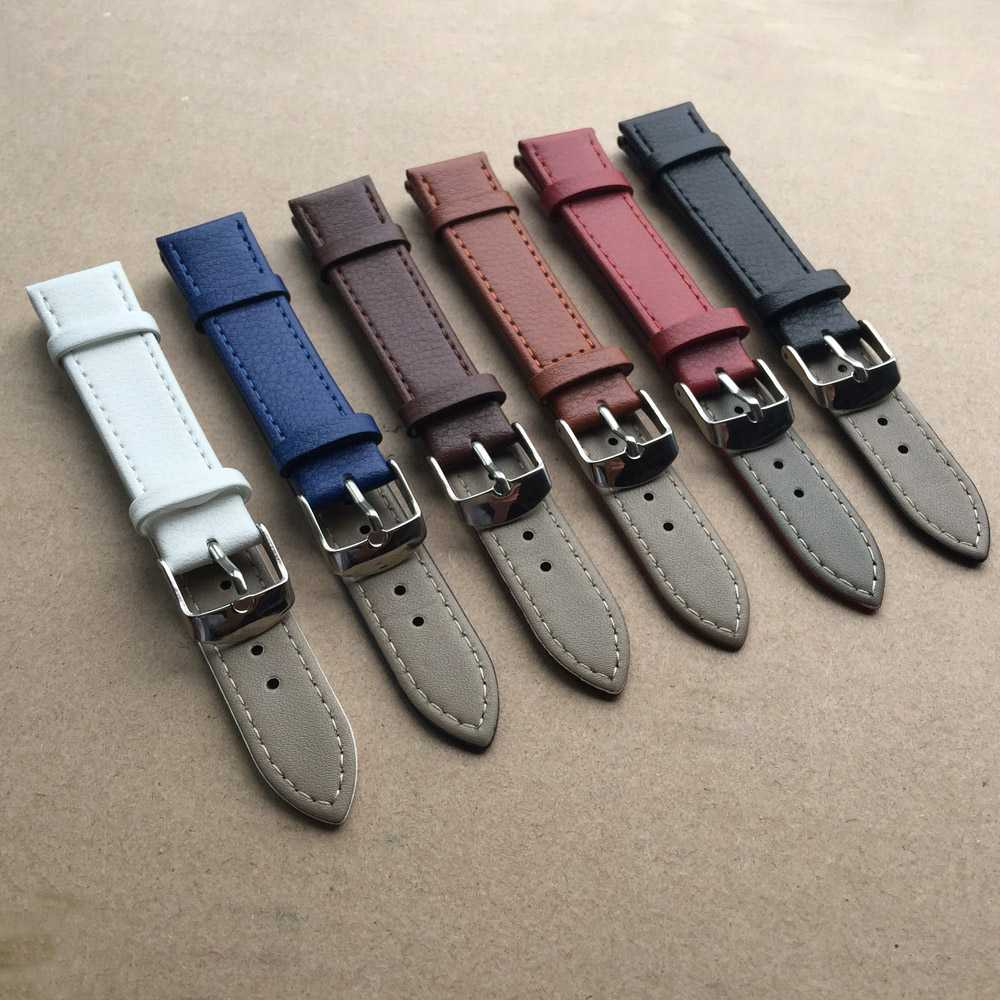 Watchbands Genuine Leather WatchBand Stainless Steel Buckle Clasp watch band leather strap 14, 16,18,20,22,24mm