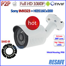 HOT ONVIF 2.4 ip camera 1080P CCTV Sony IMX323 2MP outdoor ip camera POE, WDR, 3MP 3.6mm HD Lens, bracket, H.264, P2P Security