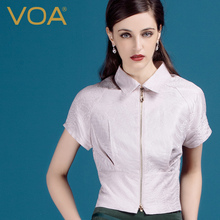 VOA High Waist POLO Collar Cropped Jacquard Jacket Fresh Fashionable Slim Women Tops W522