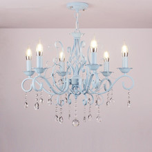 E14 Candle Clear Glass Crystal Iron Chandelier Traditional Vintage Lamp Lighting Fixture
